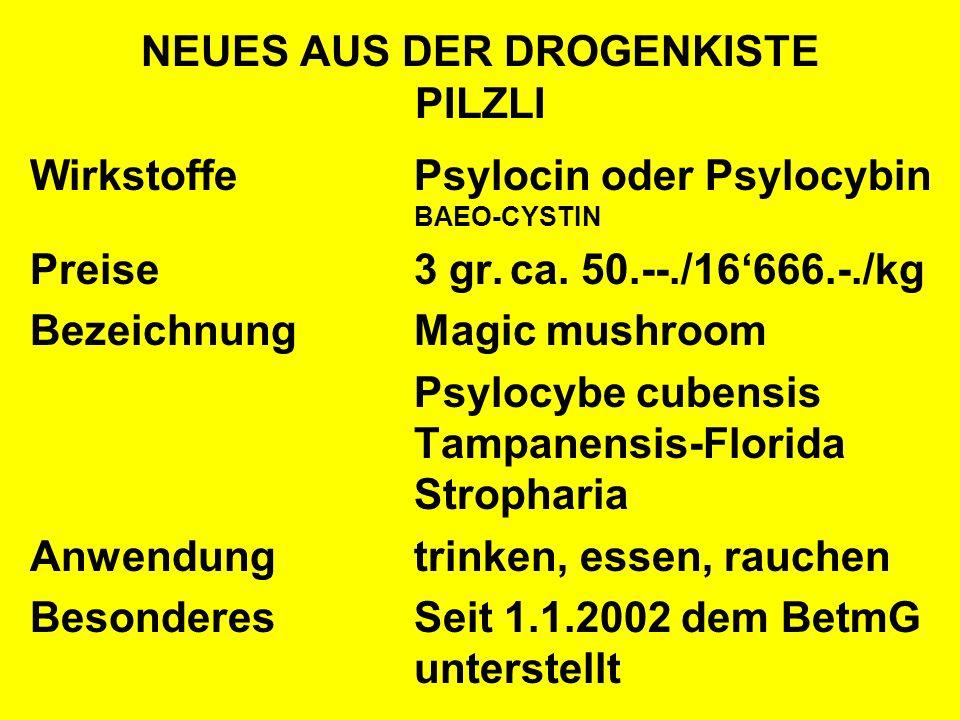 NEUES AUS DER DROGENKISTE PILZLI WirkstoffePsylocin oder Psylocybin BAEO-CYSTIN Preise3 gr.ca. 50.--./16666.-./kg BezeichnungMagic mushroom Psylocybe