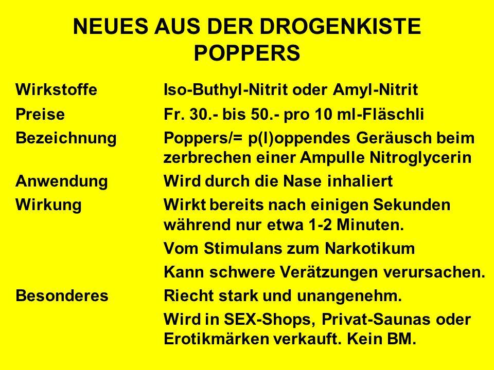 NEUES AUS DER DROGENKISTE POPPERS WirkstoffeIso-Buthyl-Nitrit oder Amyl-Nitrit PreiseFr. 30.- bis 50.- pro 10 ml-Fläschli BezeichnungPoppers/= p(l)opp