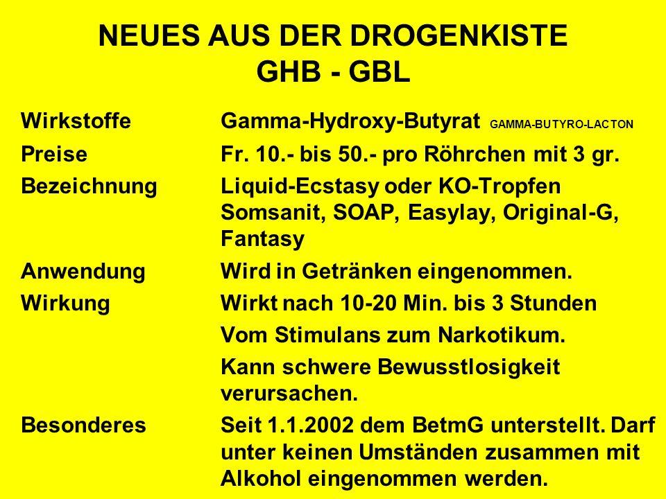 NEUES AUS DER DROGENKISTE GHB - GBL WirkstoffeGamma-Hydroxy-Butyrat GAMMA-BUTYRO-LACTON PreiseFr. 10.- bis 50.- pro Röhrchen mit 3 gr. BezeichnungLiqu