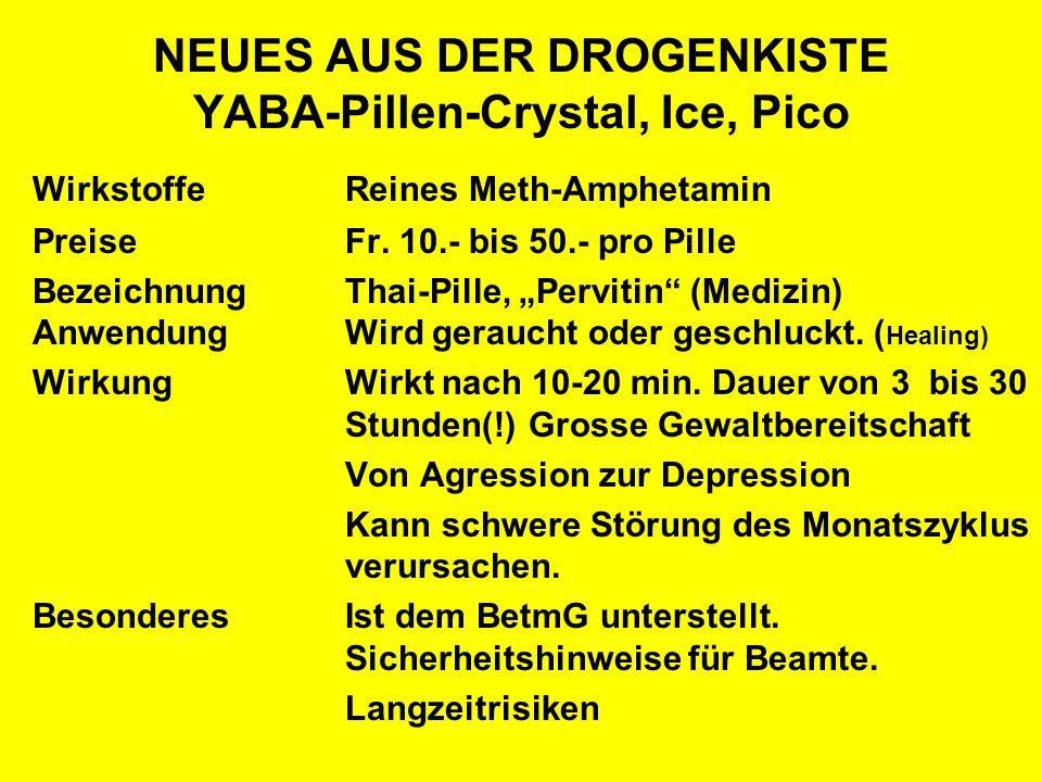 NEUES AUS DER DROGENKISTE YABA-Pillen-Crystal, Ice, Pico WirkstoffeReines Meth-Amphetamin PreiseFr. 10.- bis 50.- pro Pille BezeichnungThai-Pille, Per