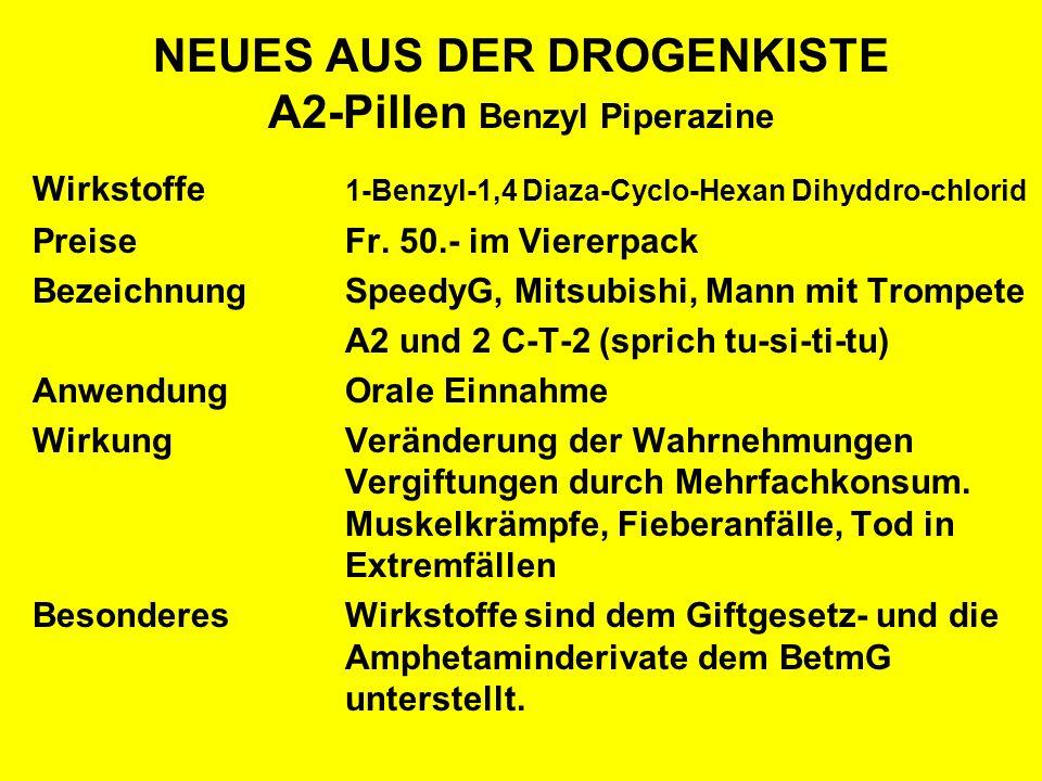 NEUES AUS DER DROGENKISTE A2-Pillen Benzyl Piperazine Wirkstoffe 1-Benzyl-1,4 Diaza-Cyclo-Hexan Dihyddro-chlorid PreiseFr. 50.- im Viererpack Bezeichn
