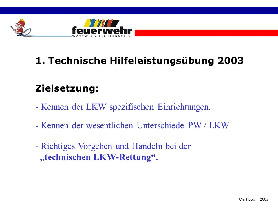 Ch. Heeb -- 2003 Begrüssung Einstieg ins Thema Strassenrettung LKW15 Min. Videovorführung patientenorientierte Rettung LKW30 Min. Postenarbeit- Möglic