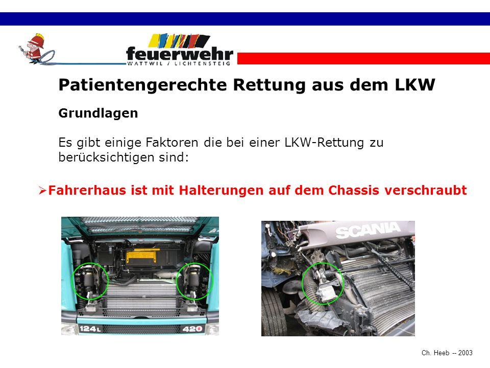 Ch. Heeb -- 2003 Patientengerechte Rettung aus dem LKW Grundlagen Es gibt einige Faktoren die bei einer LKW-Rettung zu berücksichtigen sind: Fahrerhau