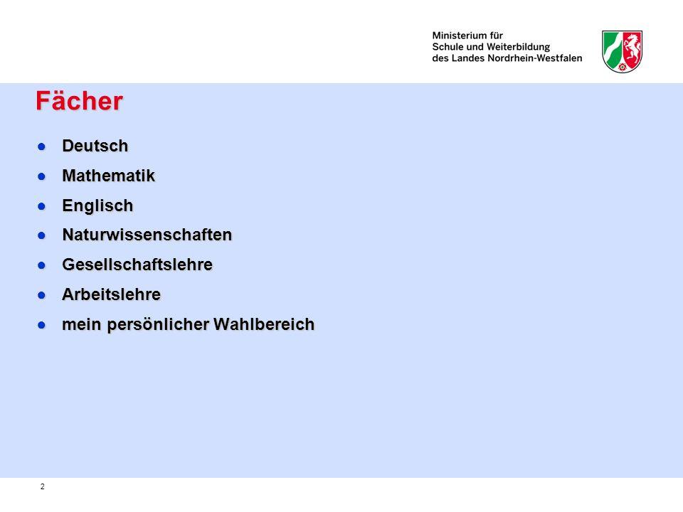 2 Fächer Fächer DeutschDeutsch MathematikMathematik EnglischEnglisch NaturwissenschaftenNaturwissenschaften GesellschaftslehreGesellschaftslehre Arbei