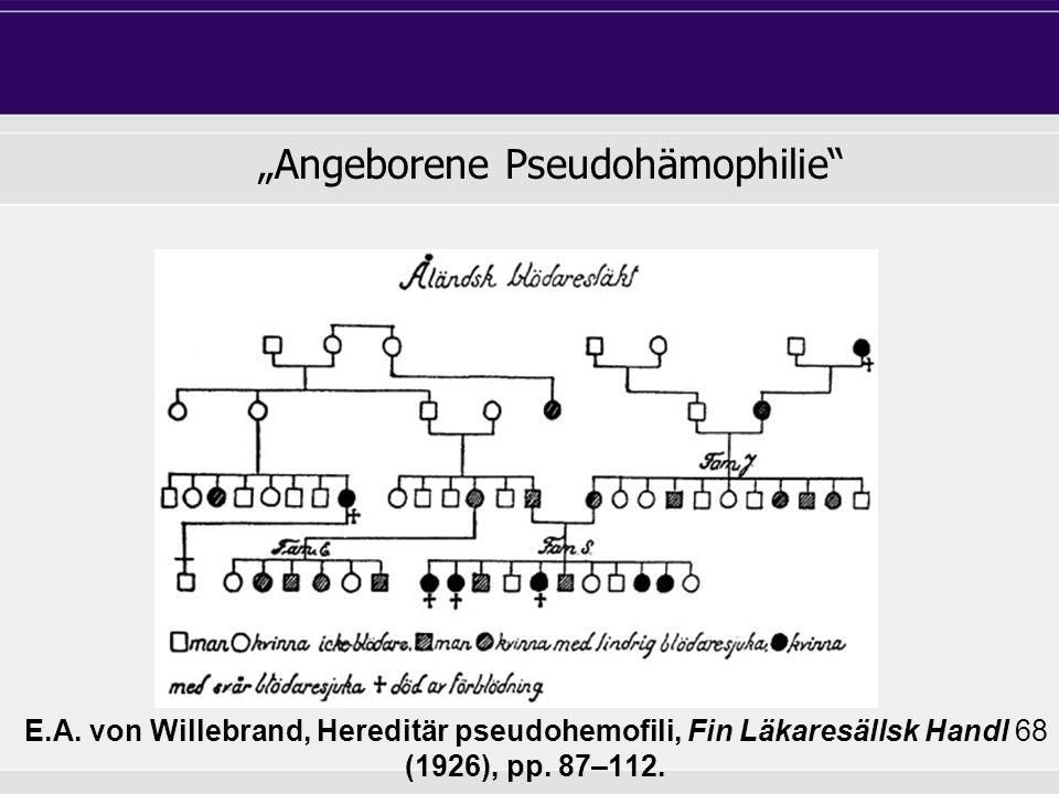 E.A. von Willebrand, Hereditär pseudohemofili, Fin Läkaresällsk Handl 68 (1926), pp. 87–112. Angeborene Pseudohämophilie