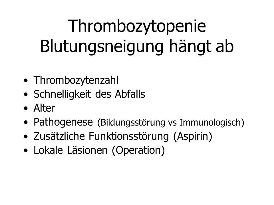 Thrombozytopenie Blutungsneigung hängt ab Thrombozytenzahl Schnelligkeit des Abfalls Alter Pathogenese (Bildungsstörung vs Immunologisch) Zusätzliche