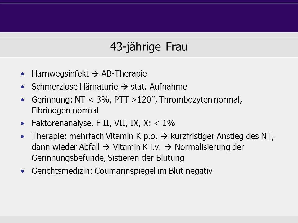 43-jährige Frau Harnwegsinfekt AB-Therapie Schmerzlose Hämaturie stat. Aufnahme Gerinnung: NT 120, Thrombozyten normal, Fibrinogen normal Faktorenanal