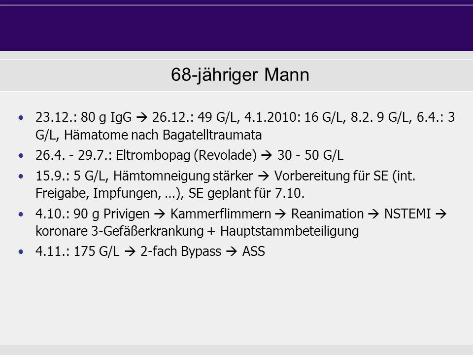 68-jähriger Mann 23.12.: 80 g IgG 26.12.: 49 G/L, 4.1.2010: 16 G/L, 8.2. 9 G/L, 6.4.: 3 G/L, Hämatome nach Bagatelltraumata 26.4. - 29.7.: Eltrombopag