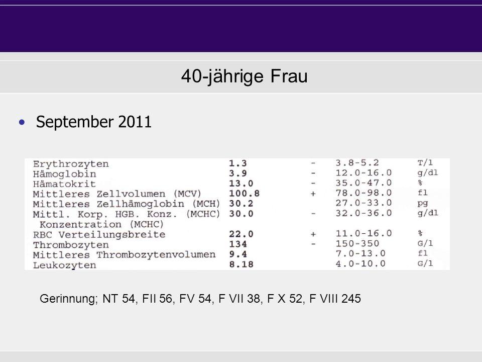 68-jähriger Mann September 2011 40-jährige Frau Gerinnung; NT 54, FII 56, FV 54, F VII 38, F X 52, F VIII 245