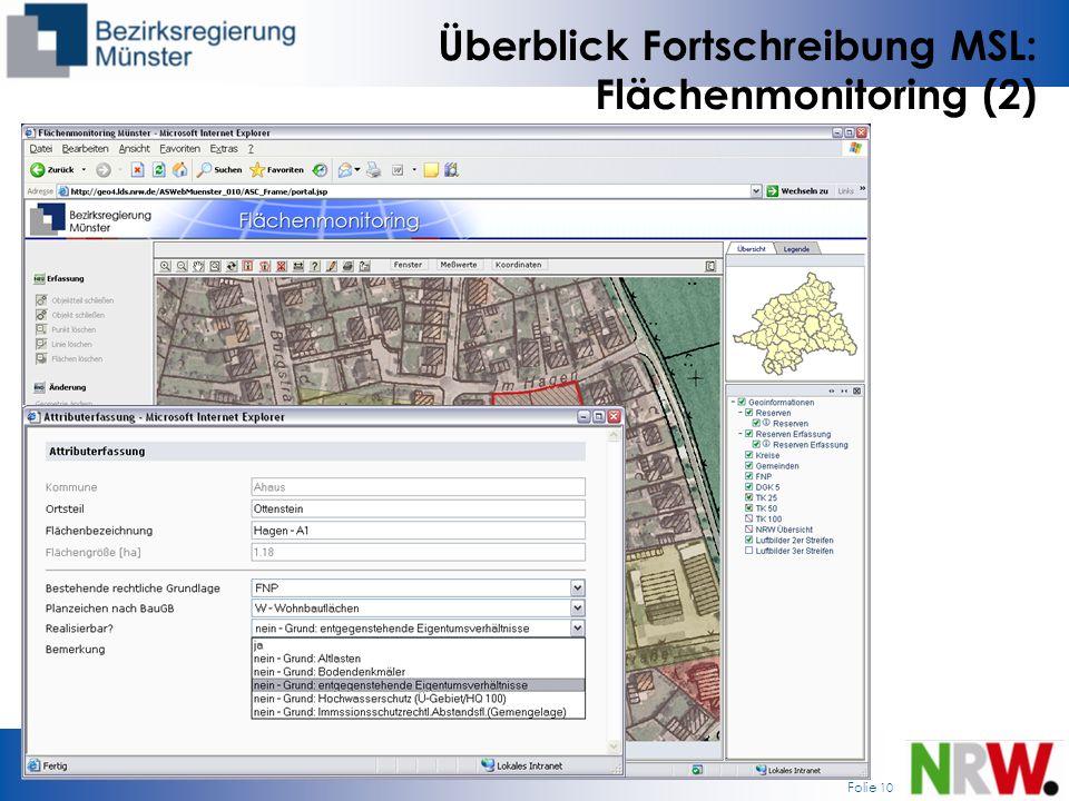 Folie 10 Überblick Fortschreibung MSL: Flächenmonitoring (2)
