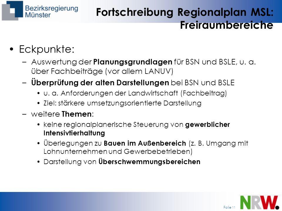 Folie 11 Fortschreibung Regionalplan MSL: Freiraumbereiche Eckpunkte: –Auswertung der Planungsgrundlagen für BSN und BSLE, u. a. über Fachbeiträge (vo