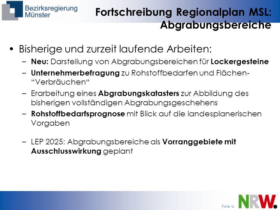Folie 12 Fortschreibung Regionalplan MSL: Abgrabungsbereiche Bisherige und zurzeit laufende Arbeiten: – Neu: Darstellung von Abgrabungsbereichen für L