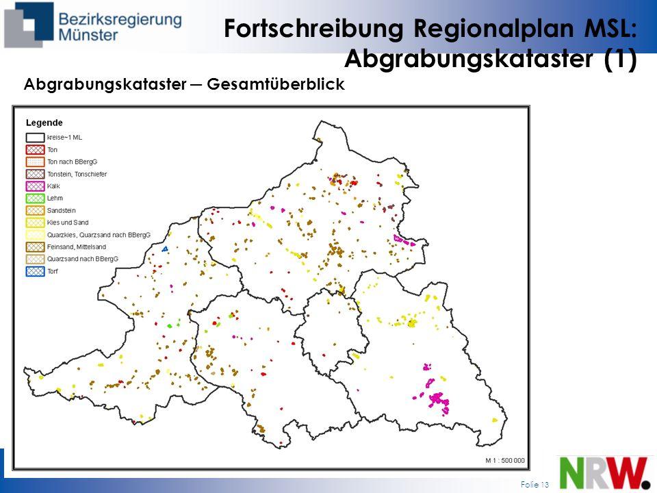 Folie 13 Fortschreibung Regionalplan MSL: Abgrabungskataster (1) Abgrabungskataster Gesamtüberblick
