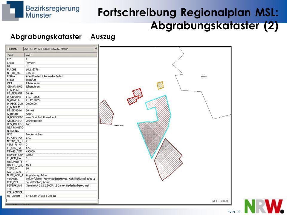 Folie 14 Fortschreibung Regionalplan MSL: Abgrabungskataster (2) Abgrabungskataster Auszug
