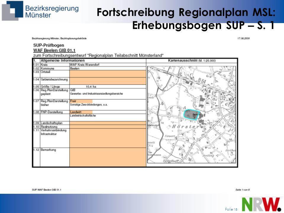 Folie 18 Fortschreibung Regionalplan MSL: Erhebungsbogen SUP – S. 1