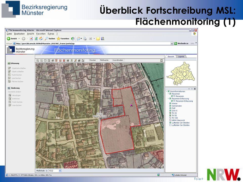 Folie 9 Überblick Fortschreibung MSL: Flächenmonitoring (1)