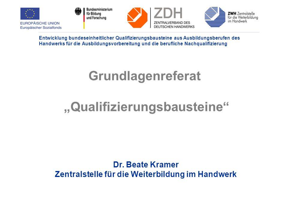 Entwicklung bundeseinheitlicher Qualifizierungsbausteine aus Ausbildungsberufen des Handwerks für die Ausbildungsvorbereitung und die berufliche Nachqualifizierung Grundlagenreferat Qualifizierungsbausteine Dr.