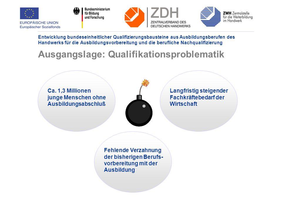 Entwicklung bundeseinheitlicher Qualifizierungsbausteine aus Ausbildungsberufen des Handwerks für die Ausbildungsvorbereitung und die berufliche Nachqualifizierung Ausgangslage: Qualifikationsproblematik Ca.