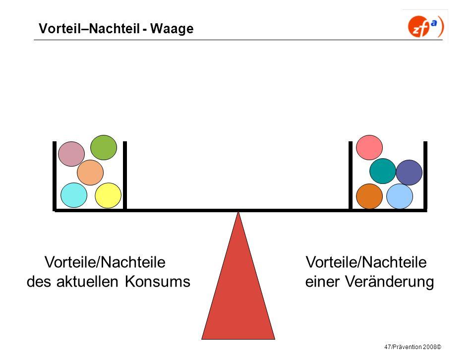47/Prävention 2008© Vorteil–Nachteil - Waage Vorteile/Nachteile des aktuellen Konsums Vorteile/Nachteile einer Veränderung