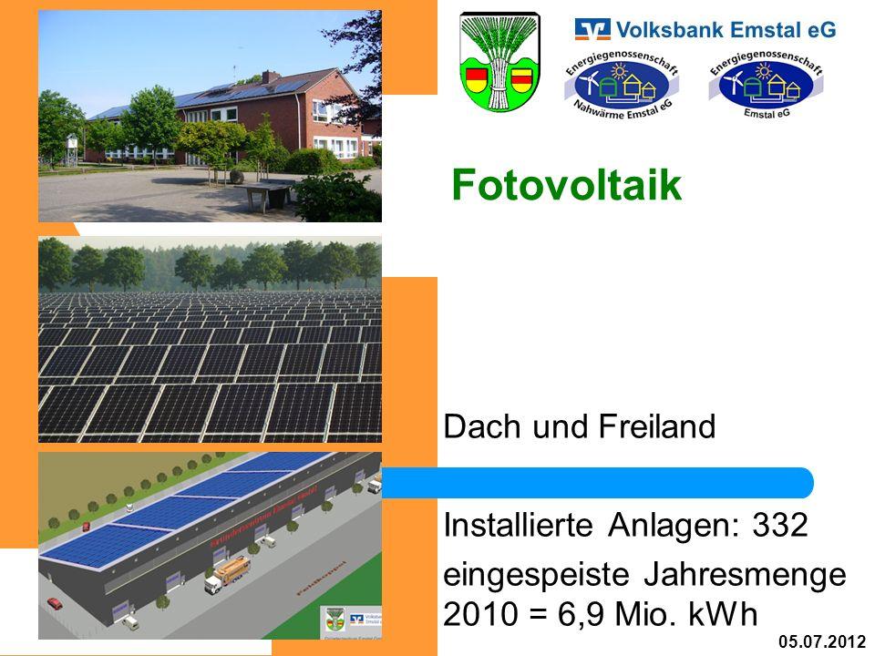 Fotovoltaik Dach und Freiland Installierte Anlagen: 332 eingespeiste Jahresmenge 2010 = 6,9 Mio.