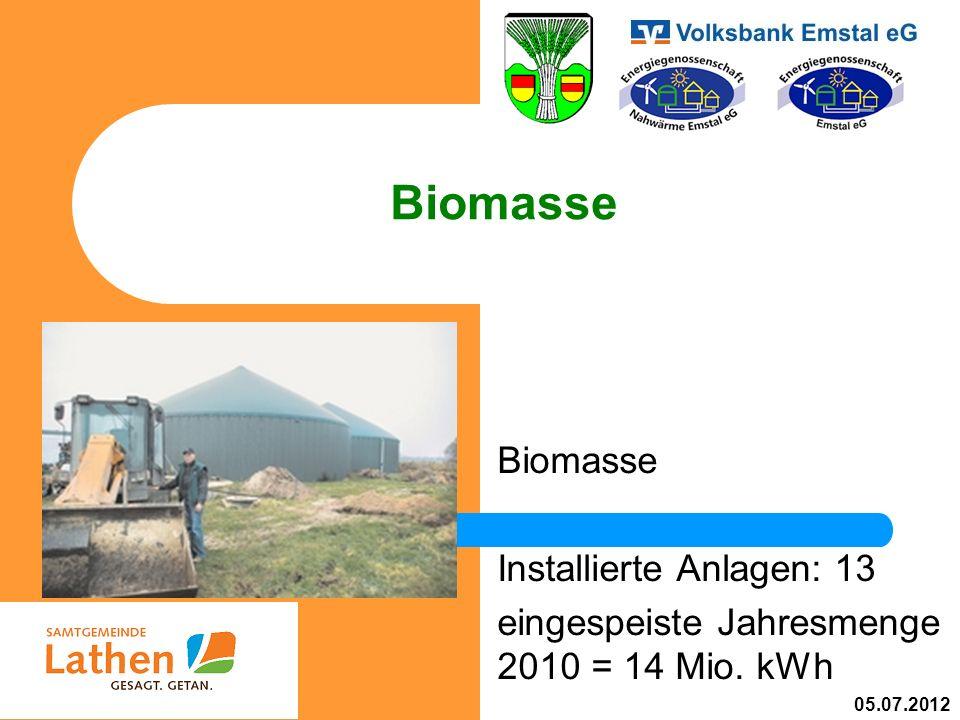 Biomasse Installierte Anlagen: 13 eingespeiste Jahresmenge 2010 = 14 Mio. kWh 05.07.2012