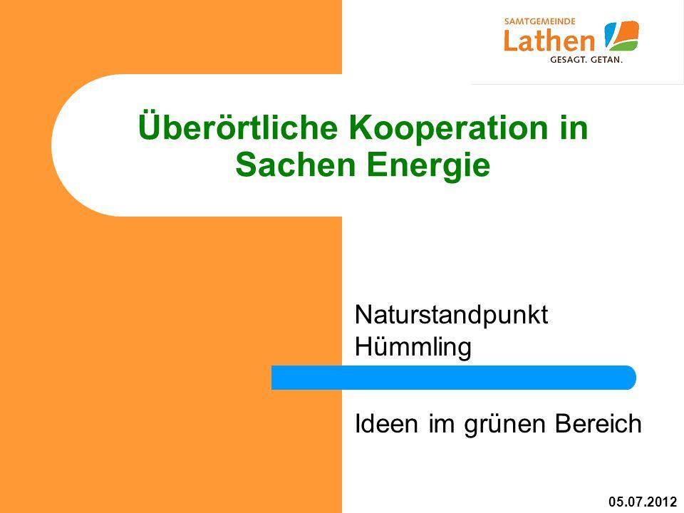 Überörtliche Kooperation in Sachen Energie Naturstandpunkt Hümmling Ideen im grünen Bereich 05.07.2012