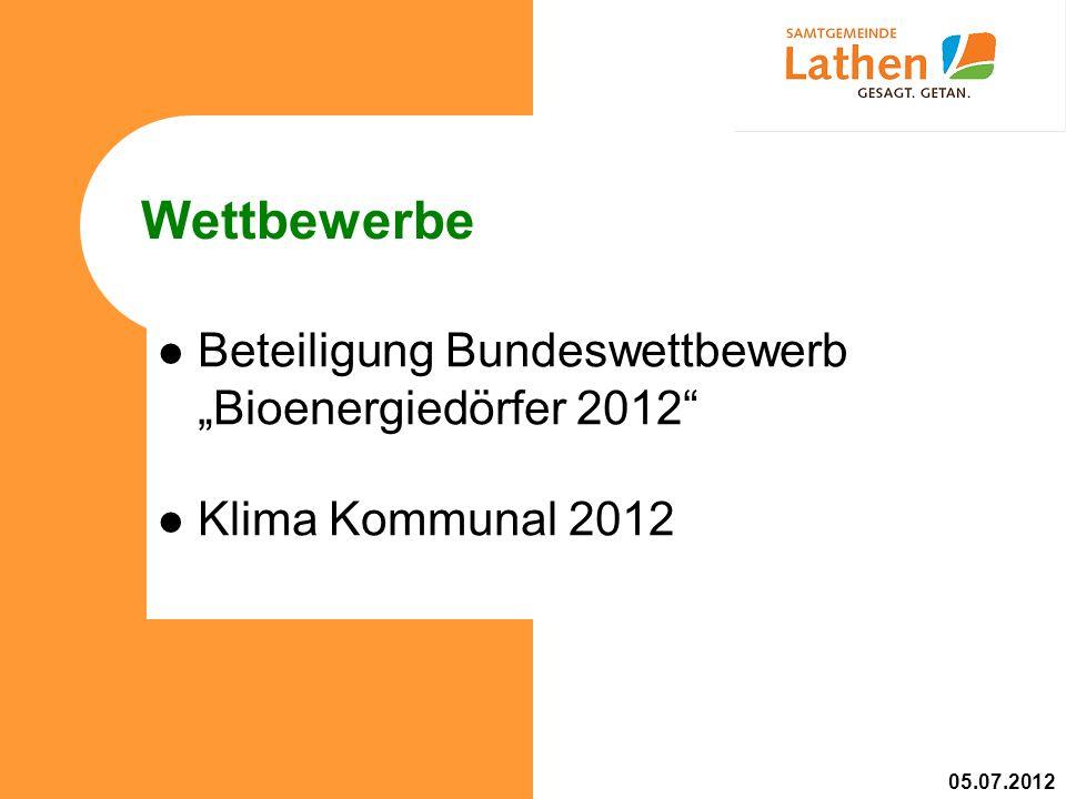 Wettbewerbe Beteiligung Bundeswettbewerb Bioenergiedörfer 2012 Klima Kommunal 2012 05.07.2012