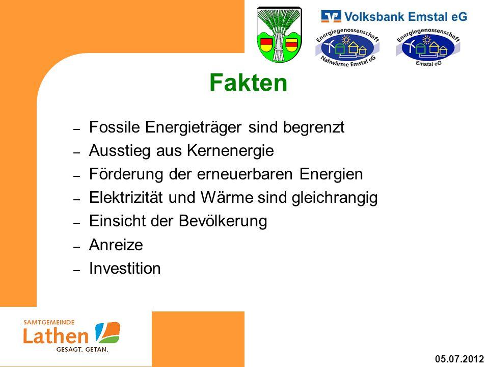 Fakten – Fossile Energieträger sind begrenzt – Ausstieg aus Kernenergie – Förderung der erneuerbaren Energien – Elektrizität und Wärme sind gleichrangig – Einsicht der Bevölkerung – Anreize – Investition 05.07.2012