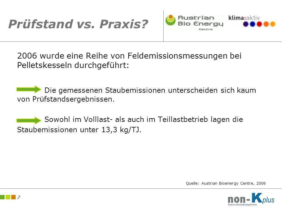 8 Entwicklung bei Holzheizungen Entwicklung der Kohlenmonoxidemission von Holzheizungen am Prüfstand Quelle: Austrian Bioenergy Centre, 2005