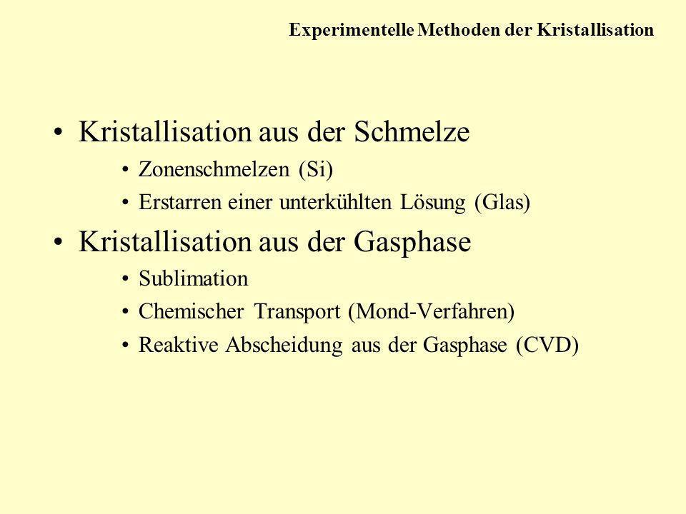 Kristallisation aus der Schmelze Zonenschmelzen (Si) Erstarren einer unterkühlten Lösung (Glas) Kristallisation aus der Gasphase Sublimation Chemische