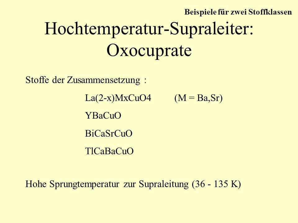 Hochtemperatur-Supraleiter: Oxocuprate Stoffe der Zusammensetzung : La(2-x)MxCuO4(M = Ba,Sr) YBaCuO BiCaSrCuO TlCaBaCuO Hohe Sprungtemperatur zur Supr
