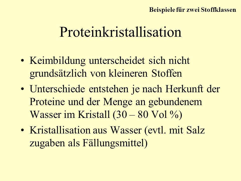 Proteinkristallisation Keimbildung unterscheidet sich nicht grundsätzlich von kleineren Stoffen Unterschiede entstehen je nach Herkunft der Proteine u