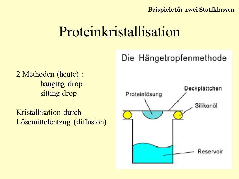 Proteinkristallisation Beispiele für zwei Stoffklassen 2 Methoden (heute) : hanging drop sitting drop Kristallisation durch Lösemittelentzug (diffusio