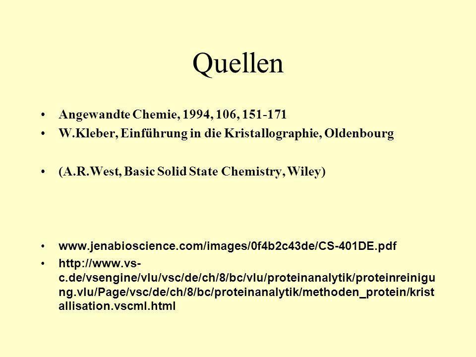 Quellen Angewandte Chemie, 1994, 106, 151-171 W.Kleber, Einführung in die Kristallographie, Oldenbourg (A.R.West, Basic Solid State Chemistry, Wiley)