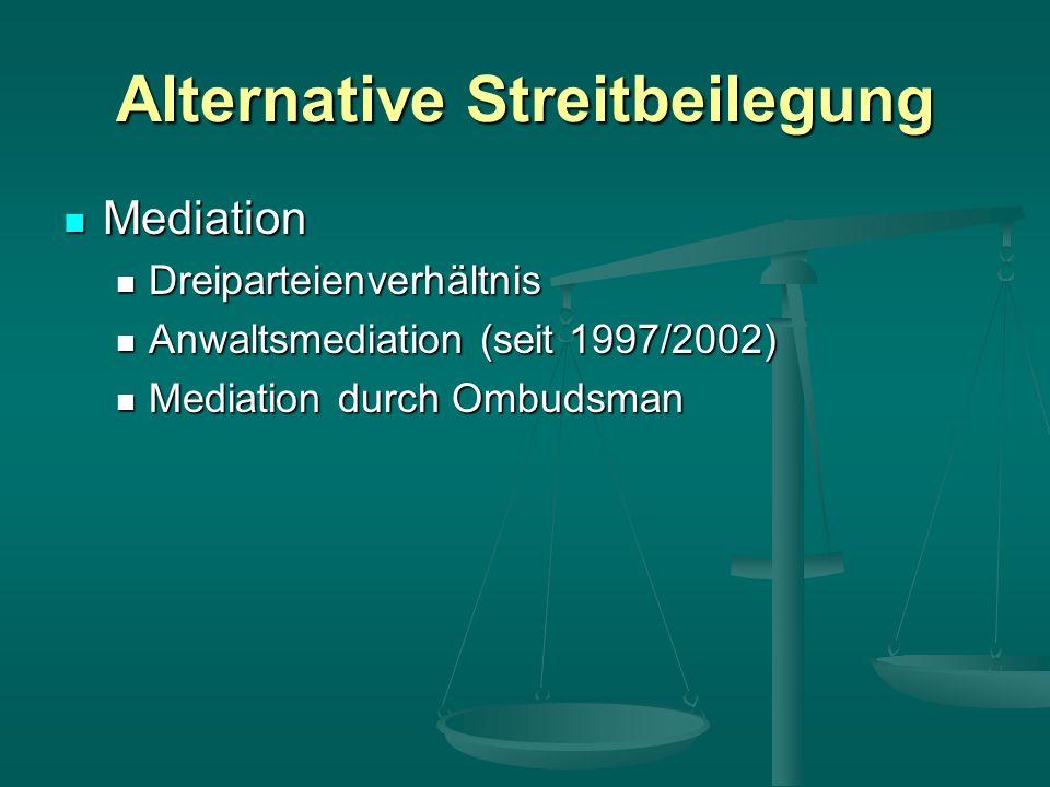 Alternative Streitbeilegung Mediation Mediation Dreiparteienverhältnis Dreiparteienverhältnis Anwaltsmediation (seit 1997/2002) Anwaltsmediation (seit 1997/2002) Mediation durch Ombudsman Mediation durch Ombudsman