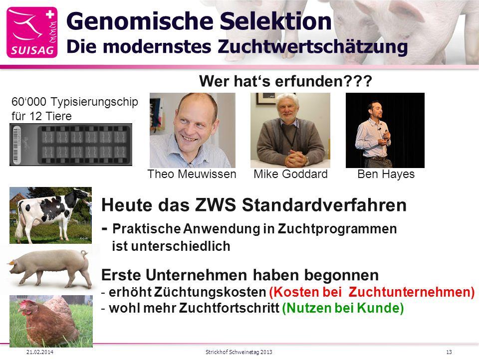 Genomische Selektion Die modernstes Zuchtwertschätzung 21.02.2014Strickhof Schweinetag 2013 Theo MeuwissenBen HayesMike Goddard Heute das ZWS Standard