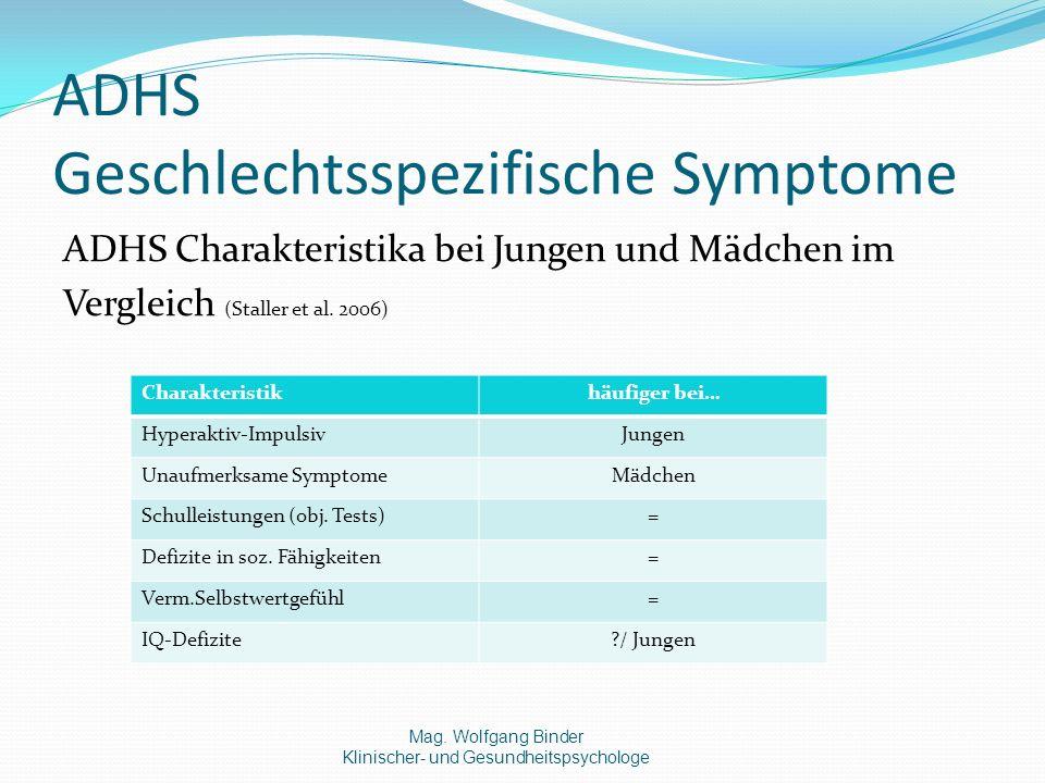 ADHS Geschlechtsspezifische Symptome ADHS Charakteristika bei Jungen und Mädchen im Vergleich (Staller et al.