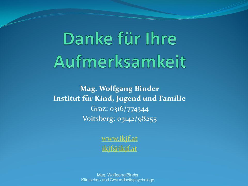 Mag. Wolfgang Binder Institut für Kind, Jugend und Familie Graz: 0316/774344 Voitsberg: 03142/98255 www.ikjf.at ikjf@ikjf.at Mag. Wolfgang Binder Klin