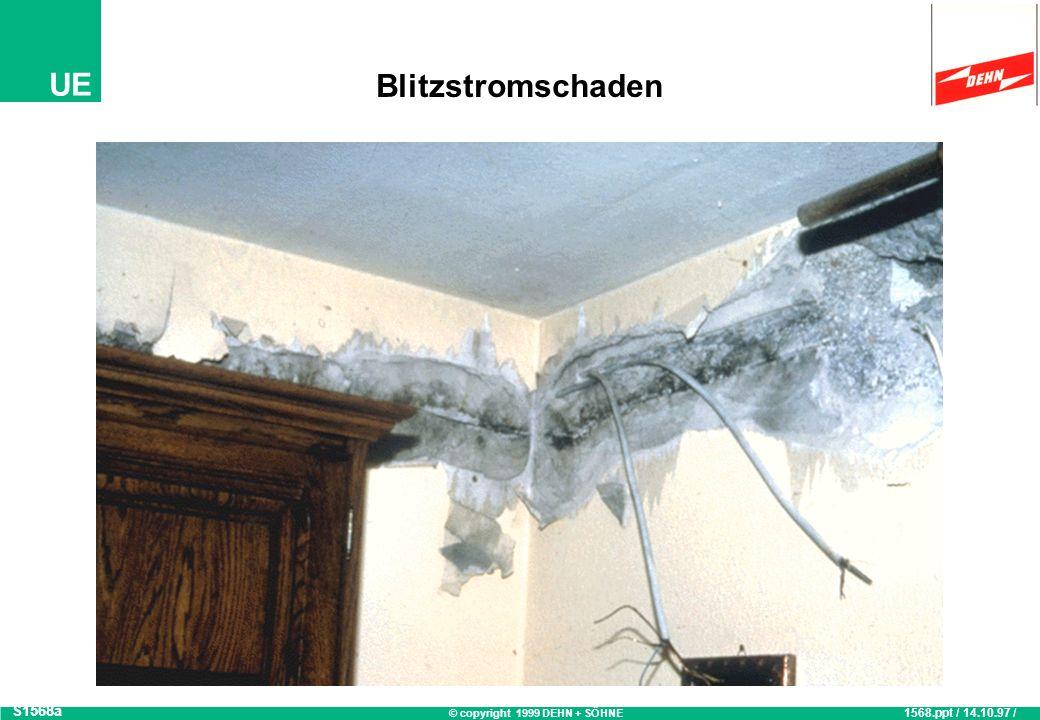© copyright 1999 DEHN + SÖHNE UE Gefährdung durch Blitzeinschlag S1562 1562.ppt / 28.01.98 / OB 1,5 km Schadensradius bei Blitzeinschlag 1.000.000 ~ 1.000.000 Blitzeinschläge in Deutschland 2-3 Blitzeinschläge pro km 2 14 - 21 x Blitzgefahr ~ 14 - 21 x Blitzgefahr pro Jahr für Ihre Anlage.