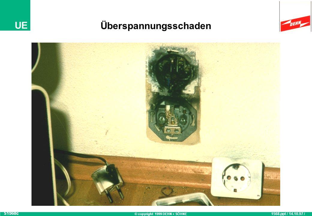 © copyright 1999 DEHN + SÖHNE UE Elektronik-Schäden: Ursachen 1997 Analyse von 8722 Schadensfällen S586 Quelle: Württembergische Versicherung AG, Stuttgart 586.ppt / 08.06.99 / OB Fahrlässigkeit 22,7% Sonstiges 26,8% Überspannungen 31,7% Blitzentladungen und Schalthandlungen Wasser 6,2% Diebstahl 7,0% Brand 4,9% Sturm 0,8%