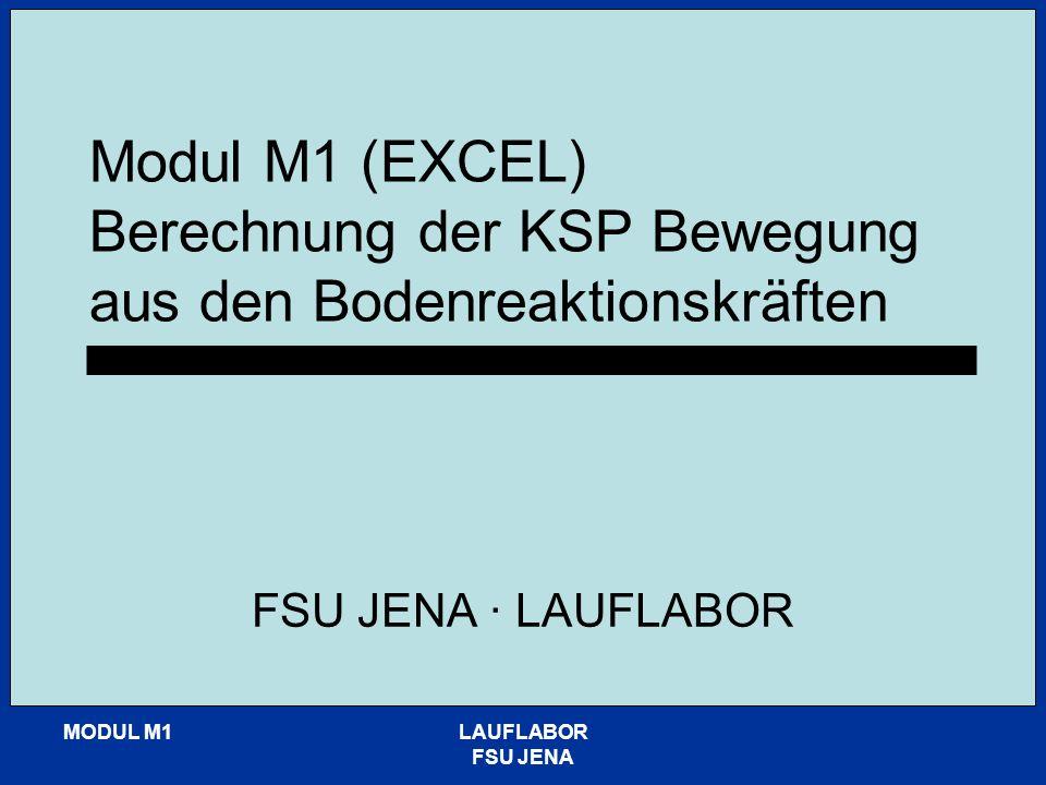 MODUL M1LAUFLABOR FSU JENA Modul M1 (EXCEL) Berechnung der KSP Bewegung aus den Bodenreaktionskräften FSU JENA · LAUFLABOR