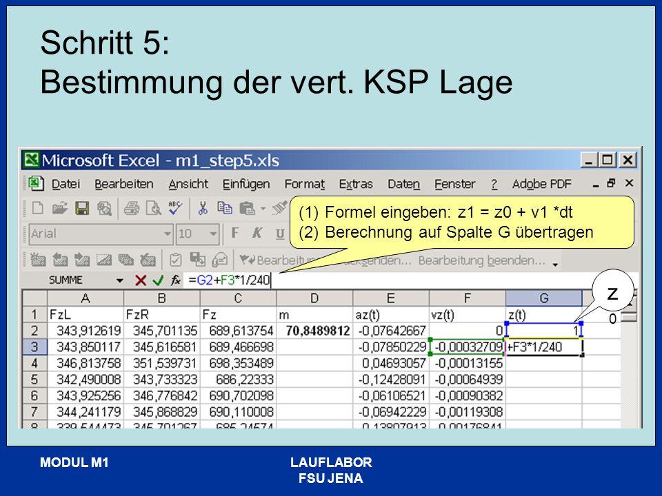 MODUL M1LAUFLABOR FSU JENA Schritt 5: Bestimmung der vert. KSP Lage (1)Formel eingeben: z1 = z0 + v1 *dt (2)Berechnung auf Spalte G übertragen z0z0