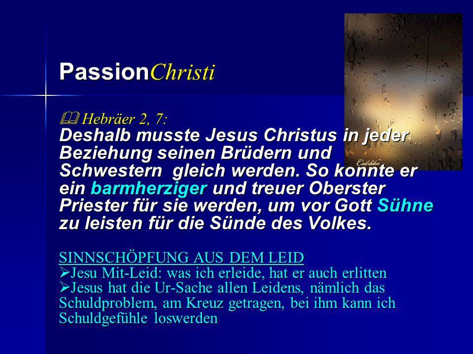Passion Christi Hebräer 2, 7: Hebräer 2, 7: Deshalb musste Jesus Christus in jeder Beziehung seinen Brüdern und Schwestern gleich werden. So konnte er