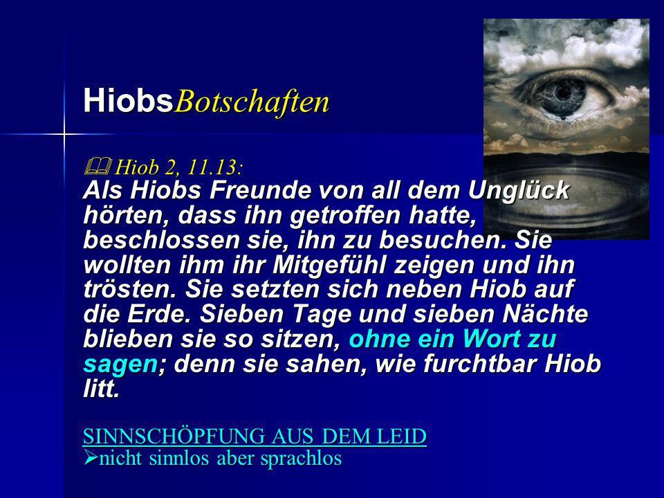 Hiobs Botschaften Hiob 2, 11.13: Hiob 2, 11.13: Als Hiobs Freunde von all dem Unglück hörten, dass ihn getroffen hatte, beschlossen sie, ihn zu besuch
