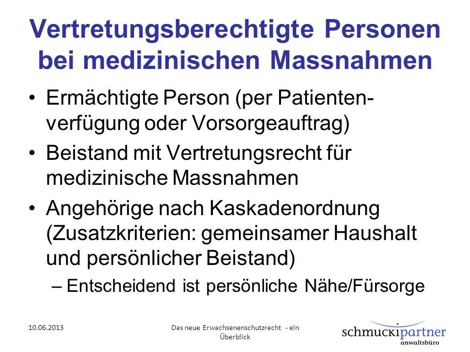 Vertretungsberechtigte Personen bei medizinischen Massnahmen Ermächtigte Person (per Patienten- verfügung oder Vorsorgeauftrag) Beistand mit Vertretun