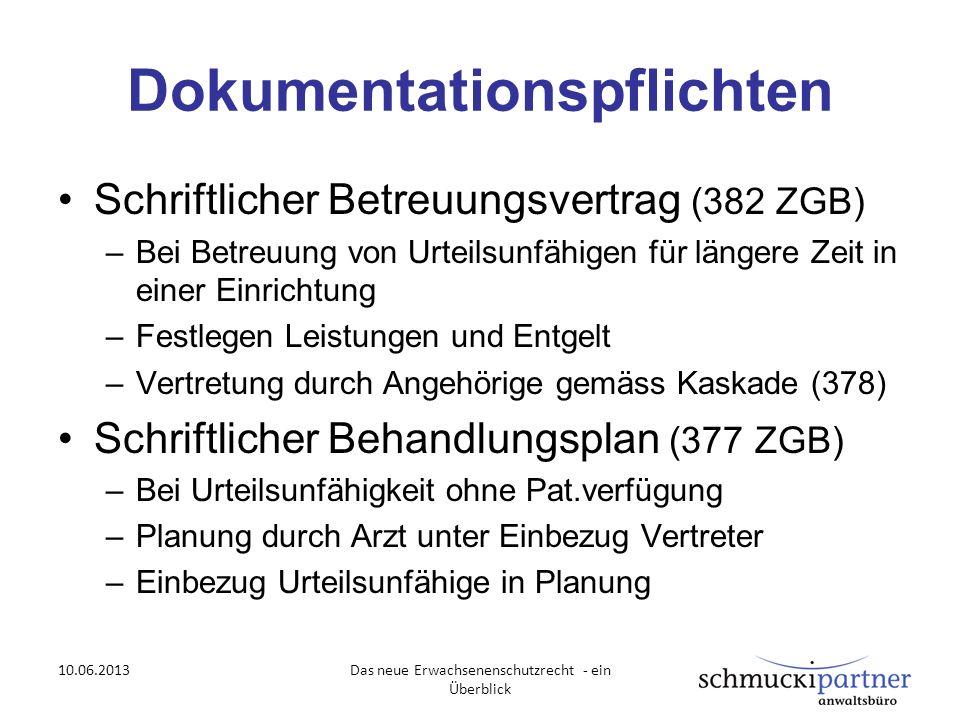 Dokumentationspflichten Schriftlicher Betreuungsvertrag (382 ZGB) –Bei Betreuung von Urteilsunfähigen für längere Zeit in einer Einrichtung –Festlegen