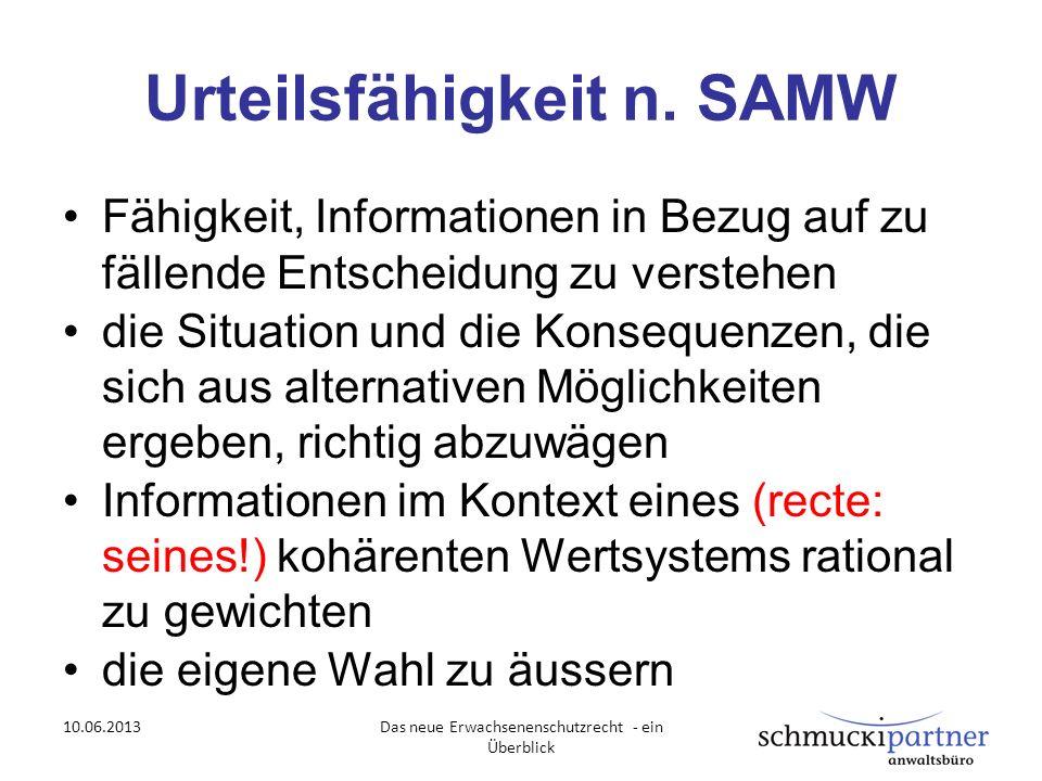 Urteilsfähigkeit n. SAMW Fähigkeit, Informationen in Bezug auf zu fällende Entscheidung zu verstehen die Situation und die Konsequenzen, die sich aus