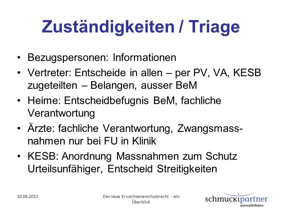 Zuständigkeiten / Triage Bezugspersonen: Informationen Vertreter: Entscheide in allen – per PV, VA, KESB zugeteilten – Belangen, ausser BeM Heime: Ent