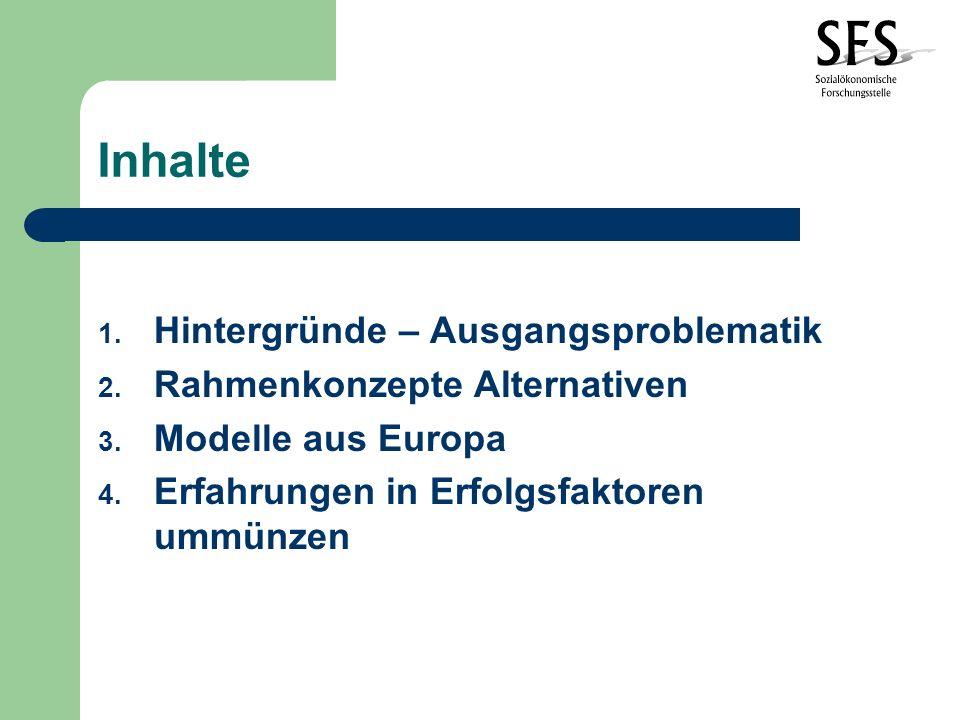 Inhalte 1.Hintergründe – Ausgangsproblematik 2. Rahmenkonzepte Alternativen 3.