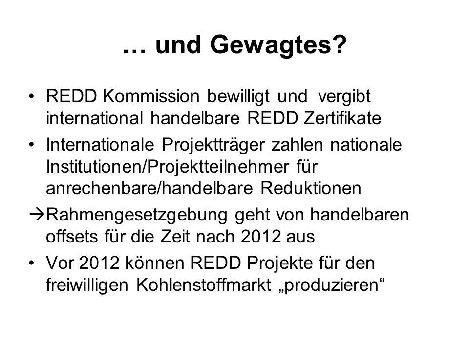 … und Gewagtes? REDD Kommission bewilligt und vergibt international handelbare REDD Zertifikate Internationale Projektträger zahlen nationale Institut